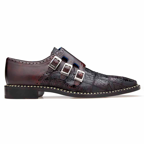 Belvedere Hurricane Cherry Genuine Caiman Patch Work Monk Strap Men's Shoe