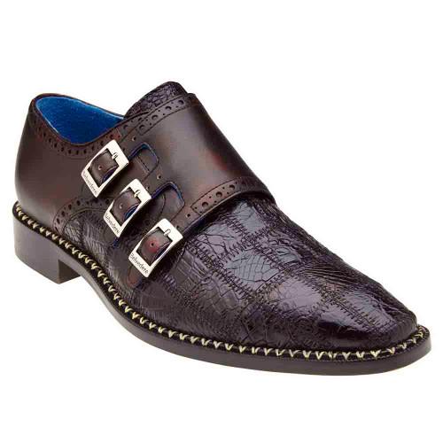 Belvedere Hurricane Cherry Genuine Caiman Patch Work Monk Strap Men's Shoe