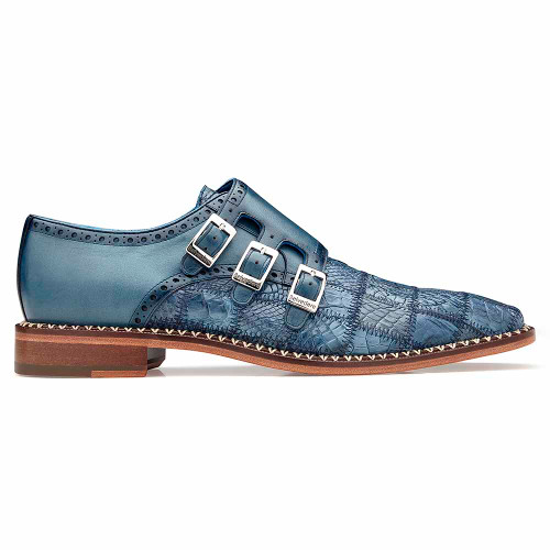 Belvedere Hurricane Blue Jean Genuine Caiman Patch Work Monk Strap Men's Shoe