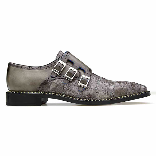 Belvedere Hurricane Gray Genuine Caiman Patch Work Monk Strap Men's Shoe