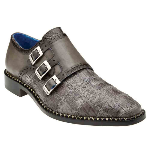 Belvedere Hurricane Gray Genuine Caiman Patch Work Monk Strap Men's Shoe