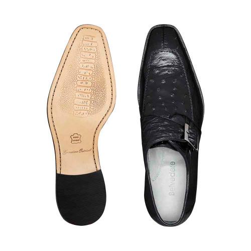 Belvedere Josh Black Genuine Ostrich Monk Strap Men's Shoe