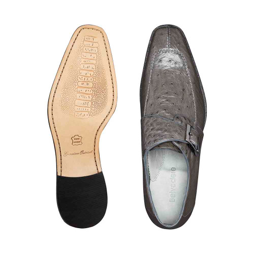 Belvedere Josh Gray Genuine Ostrich Monk Strap Men's Shoe