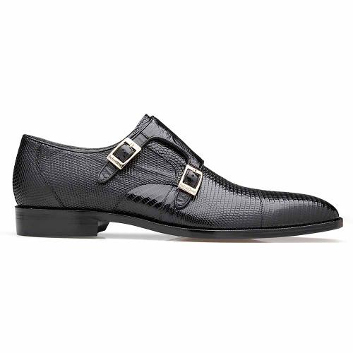 Belvedere Pablo Black Genuine Lizard & Ostrich Monk Strap Men's Shoe