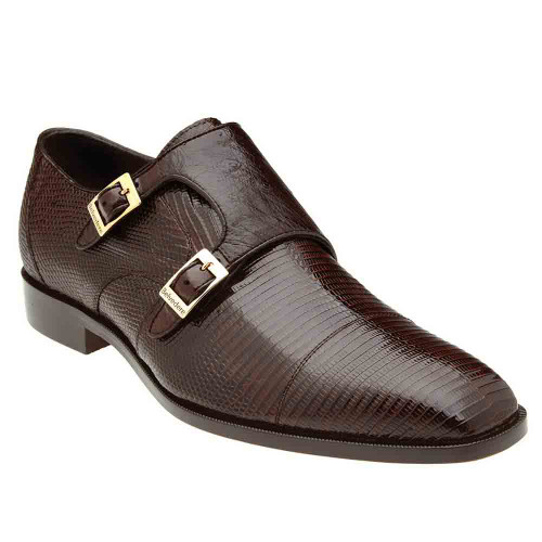 Belvedere Pablo Brown Genuine Lizard & Ostrich Monk Strap Men's Shoe