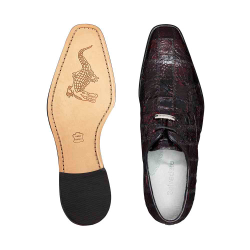 Belvedere Sabato Black Cherry Genuine Caiman Crocodile Patchwork Men's Oxford