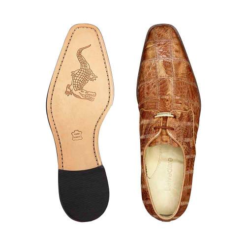 Belvedere Sabato Honey Genuine Caiman Crocodile Patchwork Men's Oxford