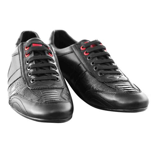 Los Altos Black Ostrich Leg Mens Casual Shoe