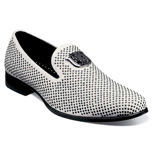 Stacy Adams Swagger Black with White Studded Ornament Slip On