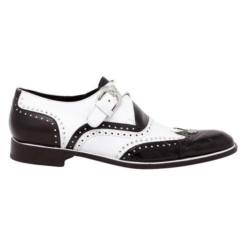 Mauri Godfather Black & White Body Alligator & Calf Monk Strap Men's Oxford