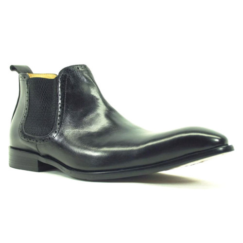 Carrucci Black Leather Hand Burnished Men's Chelsea Boot
