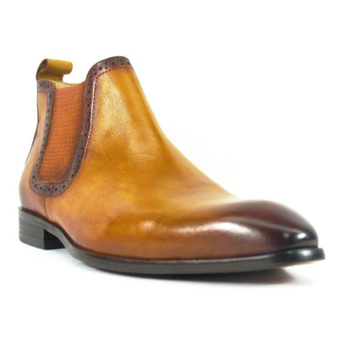 Carrucci Cognac Leather Hand Burnished Men's Chelsea Boot