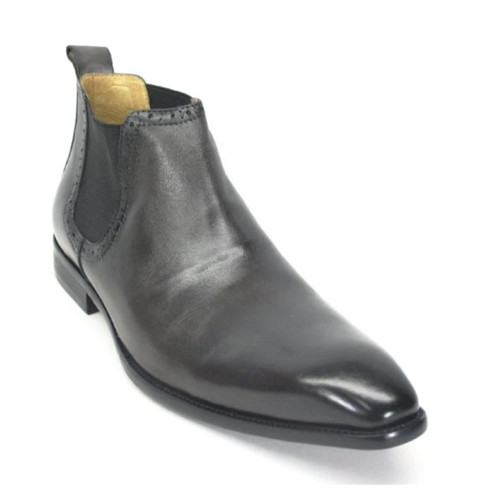 Carrucci Gray Leather Hand Burnished Men's Chelsea Boot
