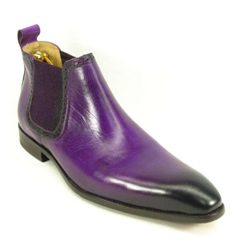 Carrucci Purple Leather Hand Burnished Men's Chelsea Boot
