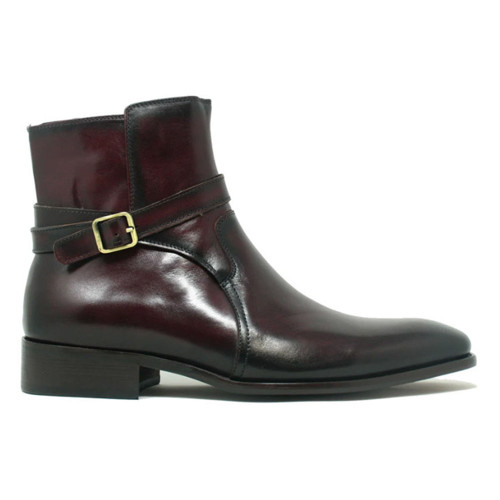 Carrucci Burgundy Leather Buckle Strap Men's Ankle Boot