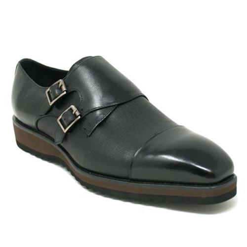 Carrucci Black Leather Double Monk Strap Men's Dress Shoe