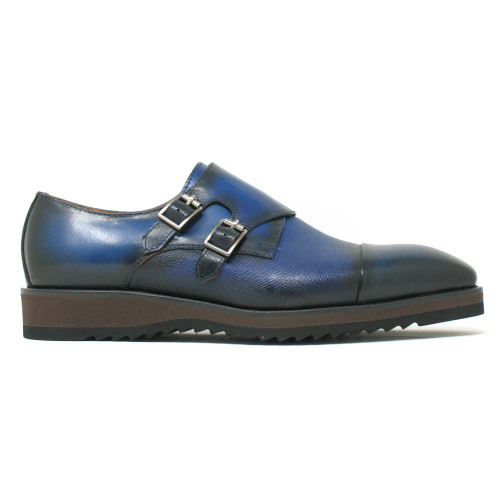 Carrucci Blue Leather Double Monk Strap Men's Dress Shoe