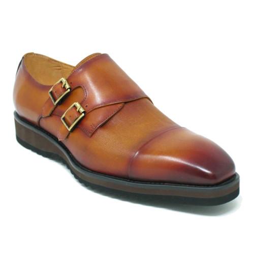 Carrucci Cognac Leather Double Monk Strap Men's Dress Shoe