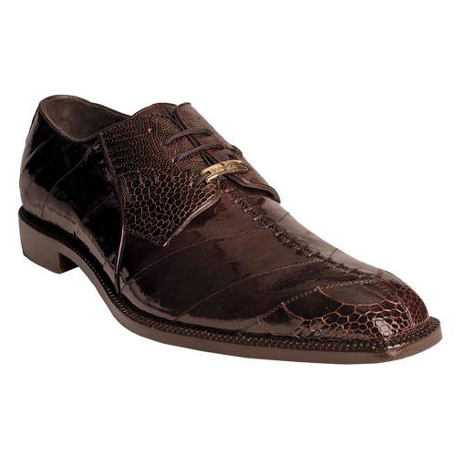 Belvedere Nome Chocolate Genuine Ostrich & Eel Men's Shoe