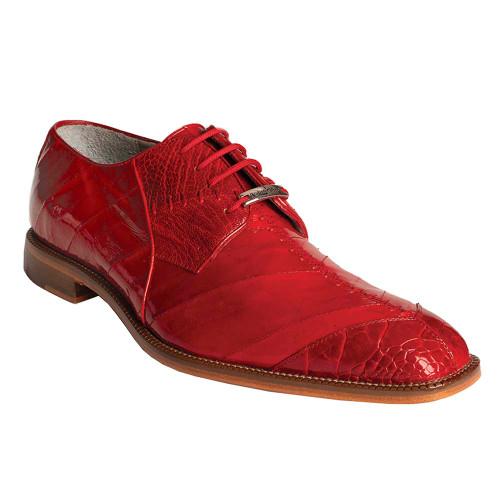 Belvedere Nome Red Genuine Ostrich & Eel Men's Shoe