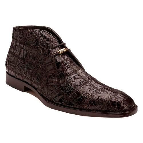 Belvedere Racer Chocolate Genuine Caiman Patchwork Men's Ankle Boot
