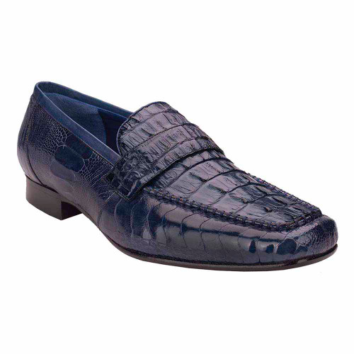 Belvedere Natale Navy Genuine Caiman & Ostrich Men's Slip On Loafer
