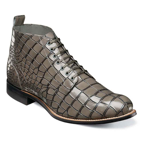 Stacy Adams Madison Gray Croco Print Leather Men's Plain Toe Boot