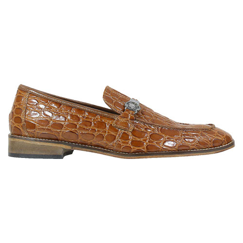 Stacy Adams Bellucci Cognac Caiman Croco Print Leather Moc Toe Men's Slip On