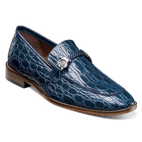 Stacy Adams Bellucci Blue Caiman Croco Print Leather Moc Toe Men's Slip On
