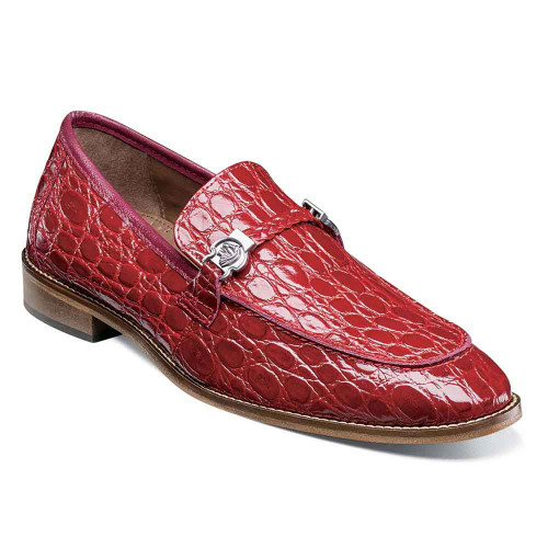 Stacy Adams Bellucci Red Caiman Croco Print Leather Moc Toe Men's Slip On
