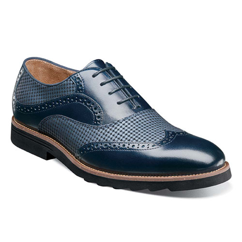 Stacy Adams Callan Navy Smooth Leather & Printed Suede Men's Wingtip Oxford
