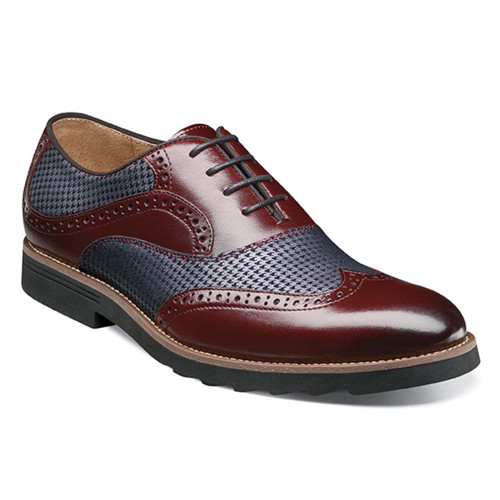 Stacy Adams Callan Burgundy Smooth Leather & Printed Suede Men's Wingtip Oxford