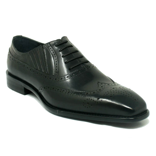 Carrucci Black Leather Wingtip Lace Up Oxford
