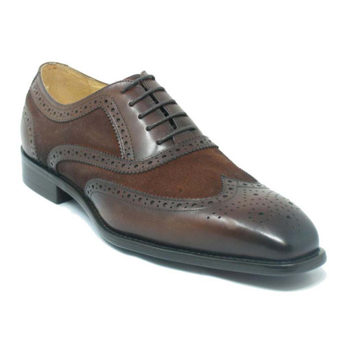 Carrucci Chestnut Mixed Media Leather & Suede Oxford
