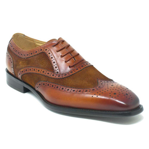 Carrucci Cognac Mixed Media Leather & Suede Oxford
