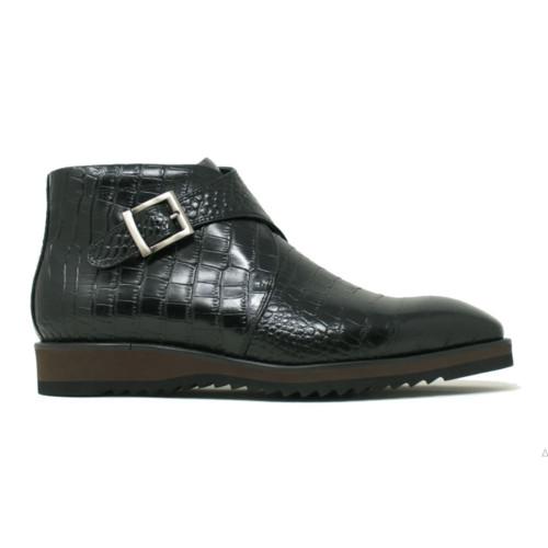 Carrucci Black Leather Monk Strap Chukka Boot