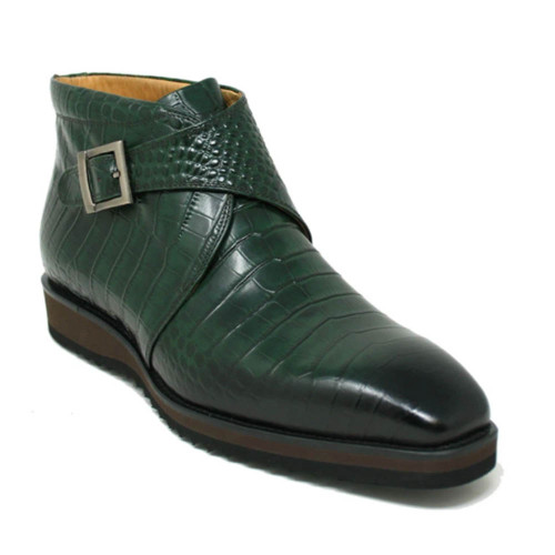 Carrucci Olive Leather Monk Strap Chukka Boot