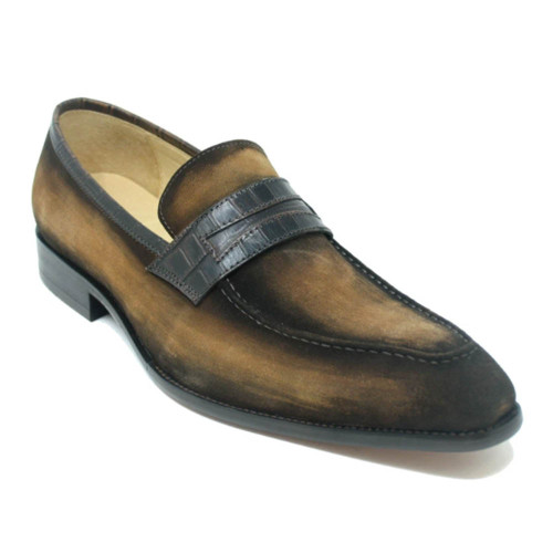Carrucci Brown Suede Leather Penny Loafer with Leather Trim