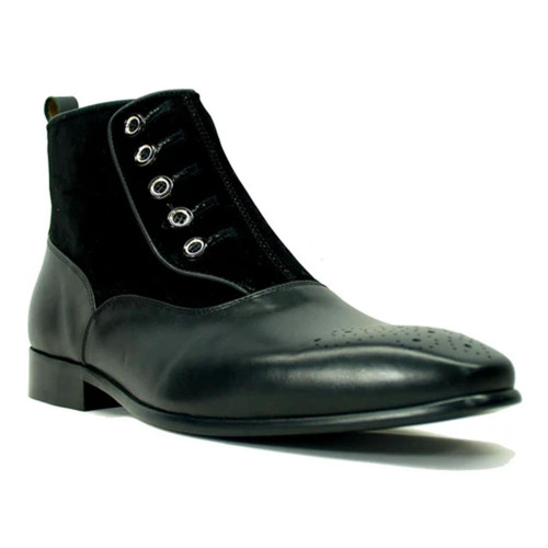 Carrucci Black Leather & Suede Leather Button Up Slip On Zipper Boot