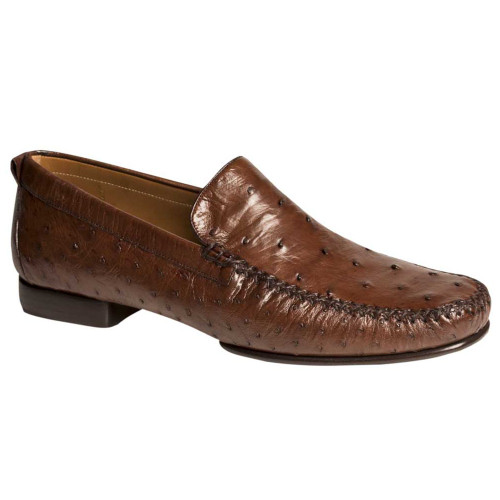 55b7a07f99 Mezlan Rollini Tabac Ostrich Leather Loafers for Men