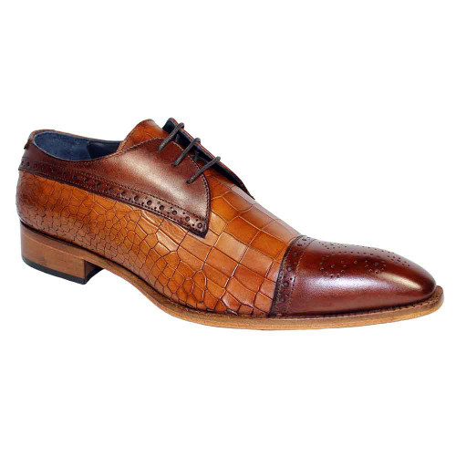 Duca Teramo Brown & Cognac Cap Toe Mens Lace Up Blucher