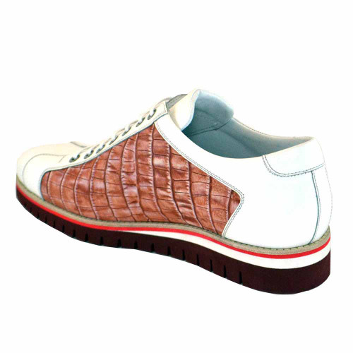 Corrente White Croc Print Calf-Skin Leather Mens Sneakers
