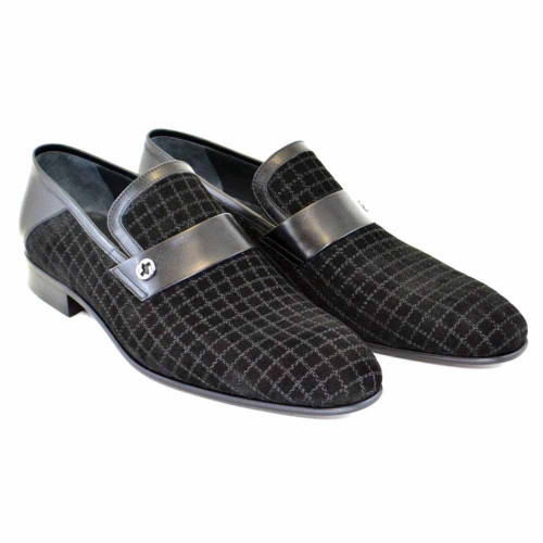 Corrente Black Suede Calf-Skin Leather Mens Loafers