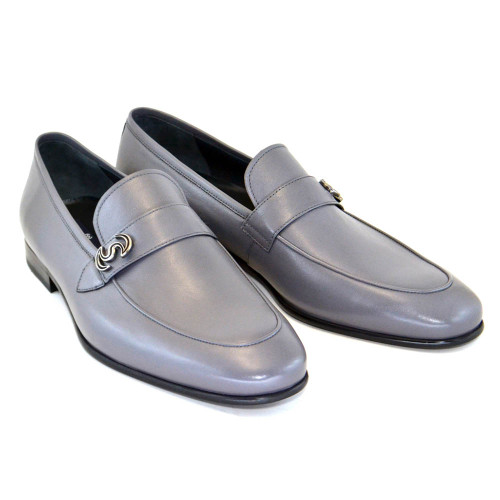 Corrente Gray Calfskin Leather Mens Loafers