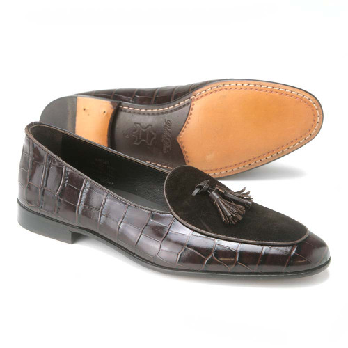 VellaPais Brown Crocodile Print Leather & Suede Mens Loafers with Tassel