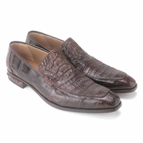 Mauri Romeo Brown Hornback Baby Crocodile Hand Painted Men's Loafer