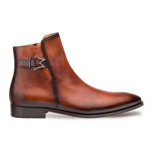 Mezlan Conor Cognac Italian Calfskin Plain Toe Men's Zippered Boot