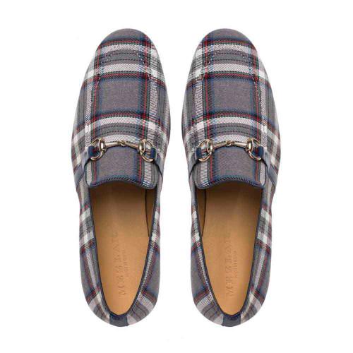Mezlan Knighton Grey Plaid Fabric Apron Toe Mens Moccasin