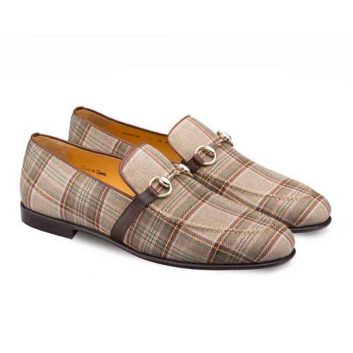 Mezlan Knighton Taupe & Brown Plaid Fabric Apron Toe Mens Moccasin