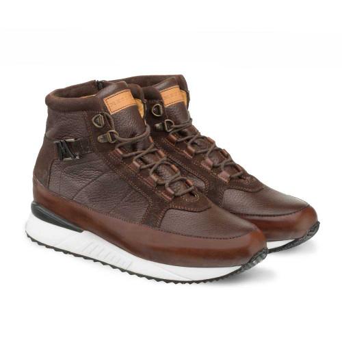Mezlan Cardew Brown Deerskin Calfskin & Suede Leather Hi Top Mens Sneaker